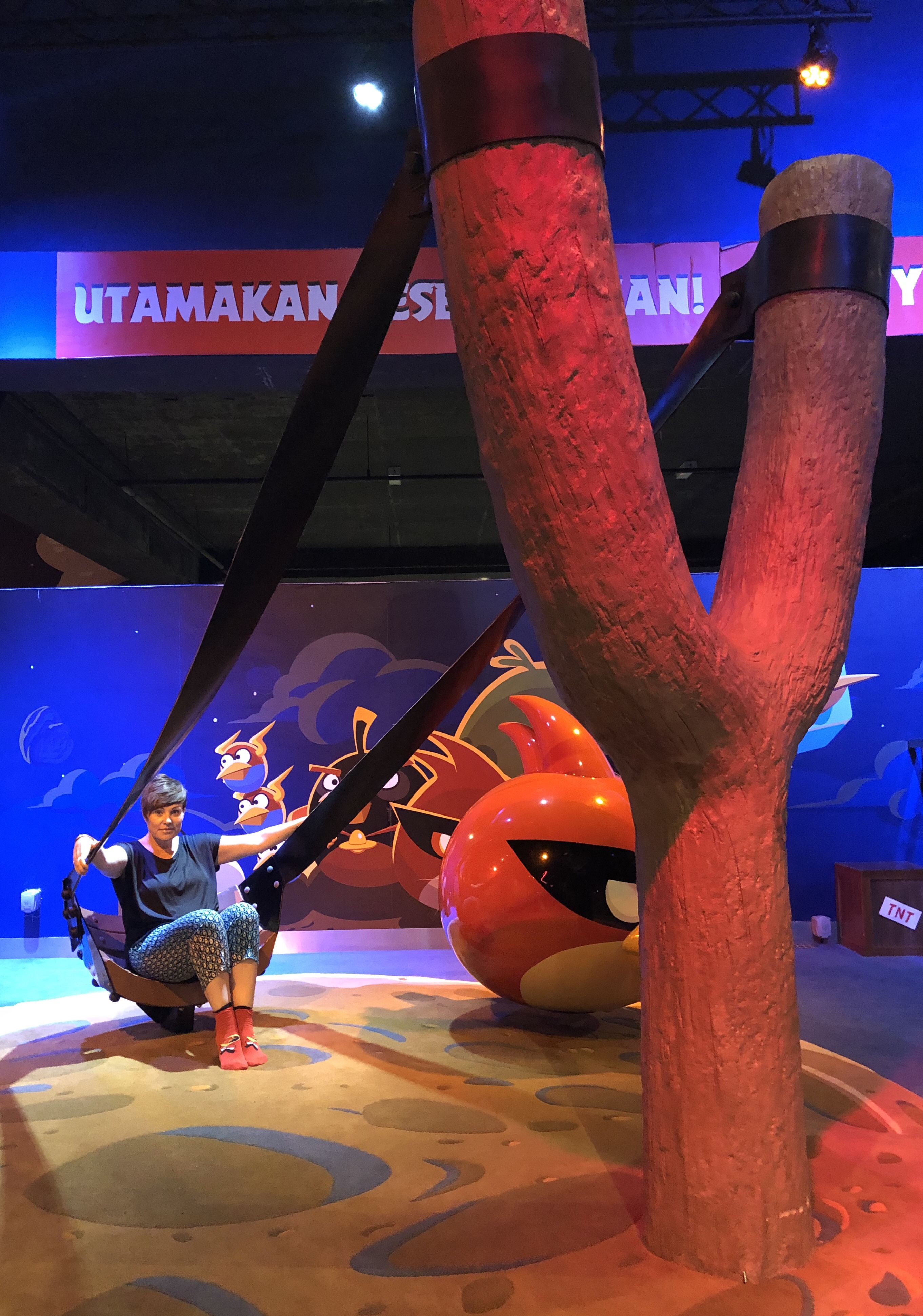 Relaxing on the slingshot at Angry Birds land in Johor Bahru